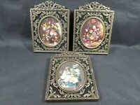 3 VINTAGE VICTORIAN ORNATE BRASS METAL FELT PICTURE FRAMES ITALY  5.5 X 4