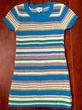 GIRLS JUSTICE DRESS SIZE 10 Stripes Yellow Blue Gray Summer Fun