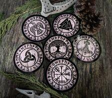 Viking Norse Symbol Drinks Coasters, Pagan, Wicca, Gift, Vegvisir, Yggdrasil