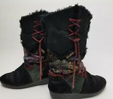 Tecnica Black Paisley Suede Goat Hair Fur Boots Womens Size 8 Italy