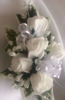 Ladies Wedding Wrist / Prom Corsage Ivy,Gyp, White Roses , Ribbons MADE TO ORDER
