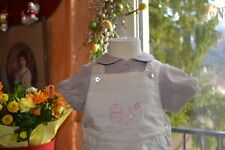 salopette cyrillus 6 mois beige cage  oiseaux+ tee shirt cyrillus assorti