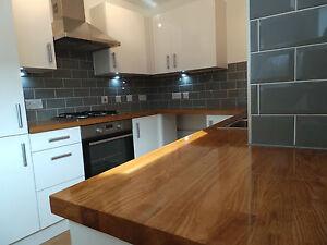 Prime Solid Oak Kitchen Wood Worktops,40mm staves, Breakfast Bars,Timber, Wooden