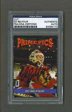 Ed Belfour signed Blackhawks 1990's Sports Card Review magazine card Psa-Dna