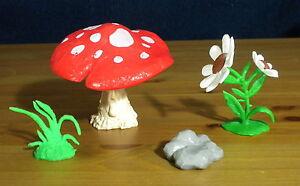 Smurfs 40060 Mushroom Playset Rare White Flowers Smurf Vintage Toy Lot PVC Peyo