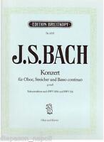 Bach: Konzert Für Oboe, Bögen E Bass Durchgehender IN Sol Minore - Peters