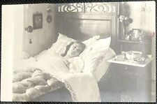 Vintage Real Photograph Postcard Young Woman Sick in Bed