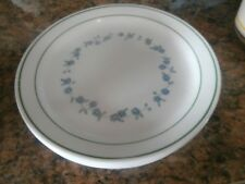 Corelle Lunch Plate's  set of 5 Blue Flowers Yellow Center Green Rim