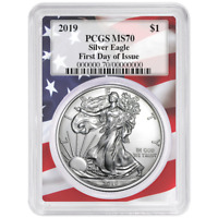 2019 $1 American Silver Eagle PCGS MS70 FDOI Flag Frame