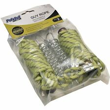 Polytuf GUY ROPE WITH RUNNER & SPRING 6mmx3m 2Pcs Rust Resistant *Aust Brand