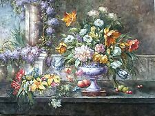 Signed Oil painting (36x48) floral still life, on Linen canvas