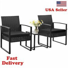 Patio Furniture Cushioned Pe Rattan Bistro Chairs Set of 2 with Table Usa