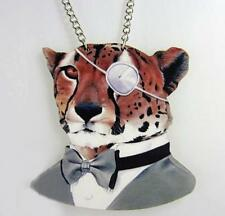 Various Uniform 3D Cartoon Animal Head Pendant Delicate Wood Necklace Chain Gift