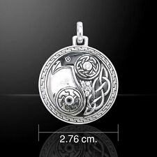 Celtic Knot Raven .925 Sterling Silver Pendant by Peter Stone