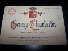etiquette vin Gevrey Chambertin Domaine Armand Rousseau wine label bourgogne