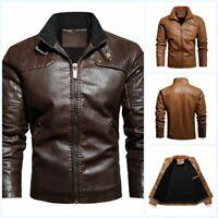 Men's Fleece Lined Leather Jacket Slim Fit Motorcycle Biker Outdoor Outwear Warm