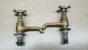 Vtg Brass Hot Cold Water Faucet Porcelain Kitchen Bath Laundry Sink Tap Spigot