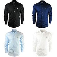 Neuf Homme Coton Lacoste Chemise Noir Bleu Ciel Blanc Marine Slim Fit S M L XL