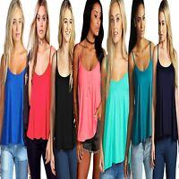 New Ladies Womens Stylish Plain Swing Strappy Sleeveless Cami Plus Size Vest TOP
