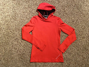 Under Armour Womens Small Fitted Cold Gear Running Hooded Pullover Color Orange