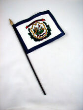 West Virginia- State Mini Stick Flag- 4 inches by 5 1/2 inches- New!