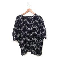 ESKANDAR Top Blouse O/S Black White Floral Embroider Shirt Women's One Size