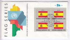 TIMBRE STAMP FDC COVER NATIONS UNIES USA Y&T#521 ESPAGNE DRAPEAU X 4 1988 ~B74