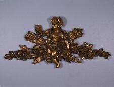 "*24"" French Antique Gilt Pediment Architectural Crown Plaster Crest w/Putto"