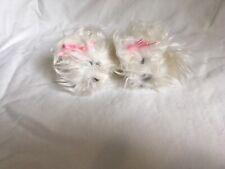 *2* Vintage 1996s Pound Puppies Baby Rare Fuzzy Long Hair Newborn White 3in