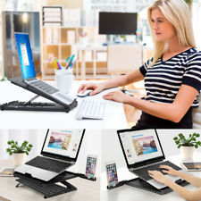 Laptop Stand for Desk, Dual Phone Holders Multi-Angle Adjustable Ergonomic Stand