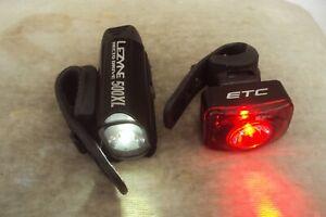 LEZYNE HECTO DRIVE 500XL USB FRONT LIGHT & ETC R65 REAR USB LIGHT.