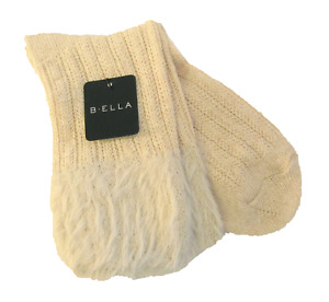 B. Ella Ladies Wool Cashmere Angora Blend Boot Socks Griselda Faux-Fur Top Ivory
