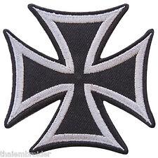Iron Cross Gray German WW2 Military Biker Motorcycle Tattoo Iron-On Patches B014