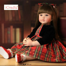 22inch Reborn Baby Dolls Cute Silicone Vinyl Lifelike Black Princess +Long Hair