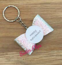 Handmade happy retirement keyring / bag charm gift  pink/silver