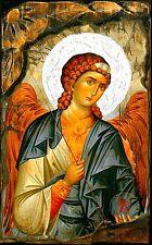 Handmade Wooden Greek Orthodox Aged Icon Painting Canvas Archangel Michael M62