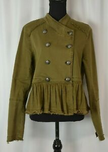 Free People Women's Double Breasted Jacket Sz Small Petite Distressed Linen Blnd