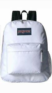JanSport Unisex Hyperbreak White Coated Black Strap Backpack New