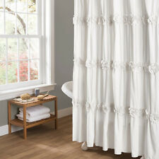 """Shower Curtain Soft White Romantic Ruched Flowers Floral Design Polyester 72x72"""""""