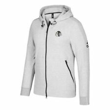 Chicago Blackhawks Men's Adidas French Terry Full Zip Hooded Sweatshirt - Gray