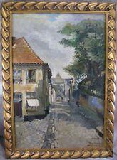 Leverbe Leon 1929 Gemälde Frankreich Dorf Stadt Straßenszene Personen & Kirche