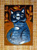 ACEO original pastel painting outsider folk art brut #010538 surreal funny cat
