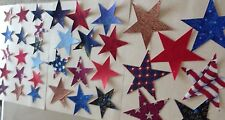 """Patriotic Stars pack of 25 stars with fusible web sizes 4"""", 3"""", 2"""" machine cut"""