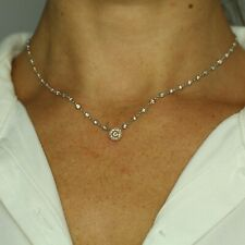 """18K 3-TONED GOLD WHITE & PINK DIAMOND BY THE YARD NECKLACE PENDANT 18"""""""