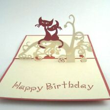 Happy Birthday Cats pop-up greeting card (beautiful & unique gift/decor/art)