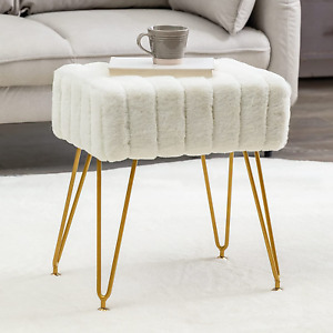 Modern Mink Square Footstool Ottoman Bench, White Faux Fur Vanity Stool with for
