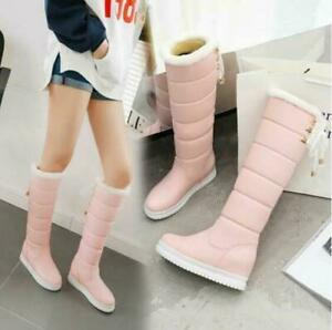 Winter New Simple Fahion Womens Pull On Snow Boots Warm Thick Long Boots PLus SZ