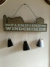 Farmhouse Windchimes Hanging Door Wall Sign with 3 Large Bell Chimes New