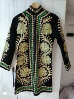 Uzbek handmade embroidery, women's silk suzani dress caftan Chapan 00012+