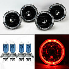 "FOUR 5.75"" 5 3/4 Round Black Glass Red Halo Headlights w/ Bulbs Set Chevy"